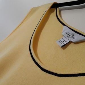 Ming Wang  Yellow Black Scoop neck Knit Tank